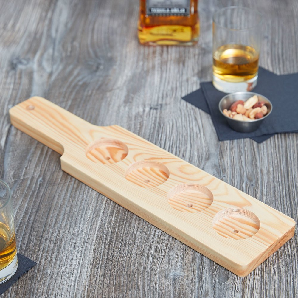 "Core 14 1/2"" x 3 1/2"" Four-Hole Natural Finish Wood Beer Flight Sampler Paddle - 12/Case"