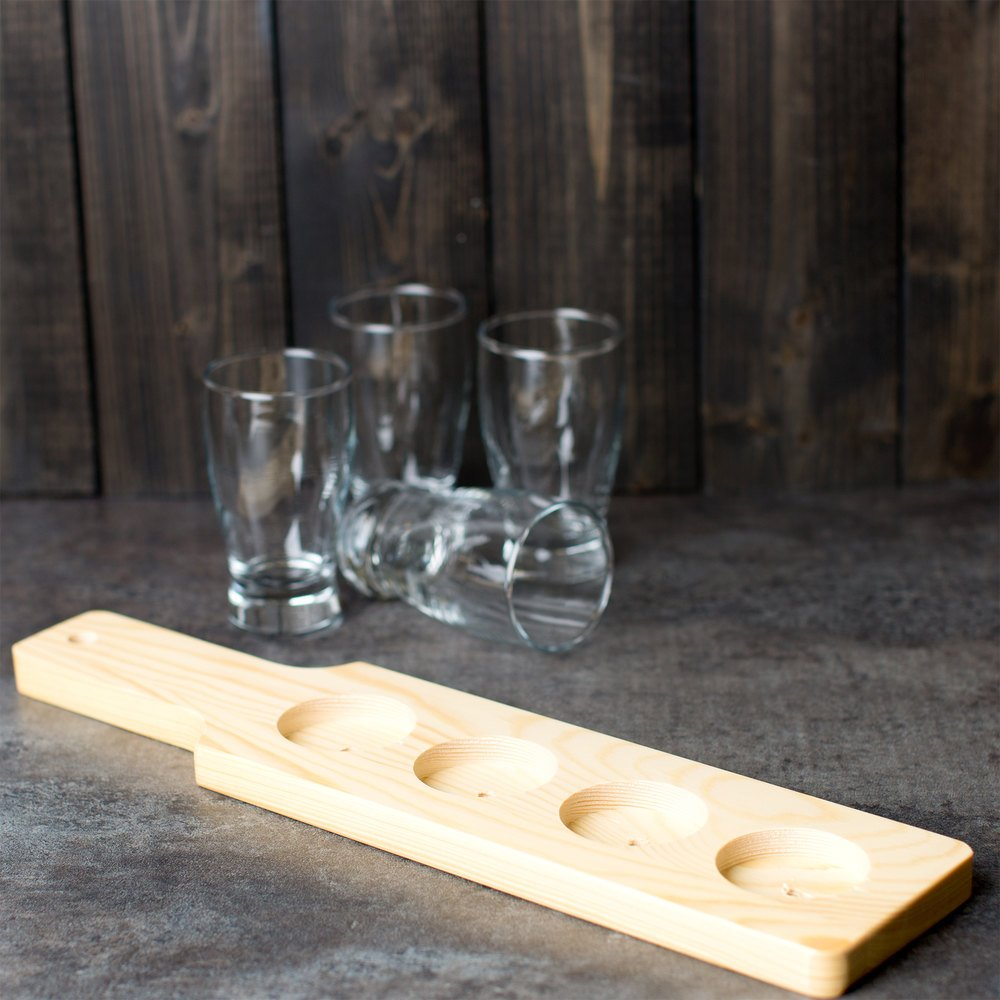 "Choice Four-Hole Natural Finish Wood Beer Flight Sampler Paddle - 14 1/2"" x 3 1/2"" x 5/8"" 12 / Case"