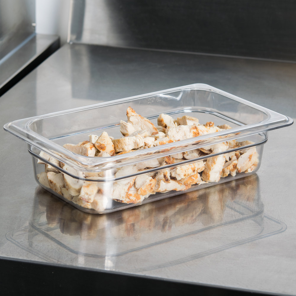 "Cambro 42CW135 Camwear 1/4 Size Clear Food Pan - 2 1/2"" Deep"