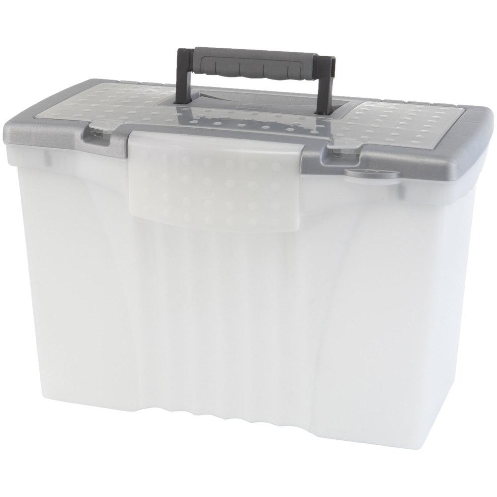 Storex 61511u01c clear plastic portable letter legal for Letter legal storage boxes with lids