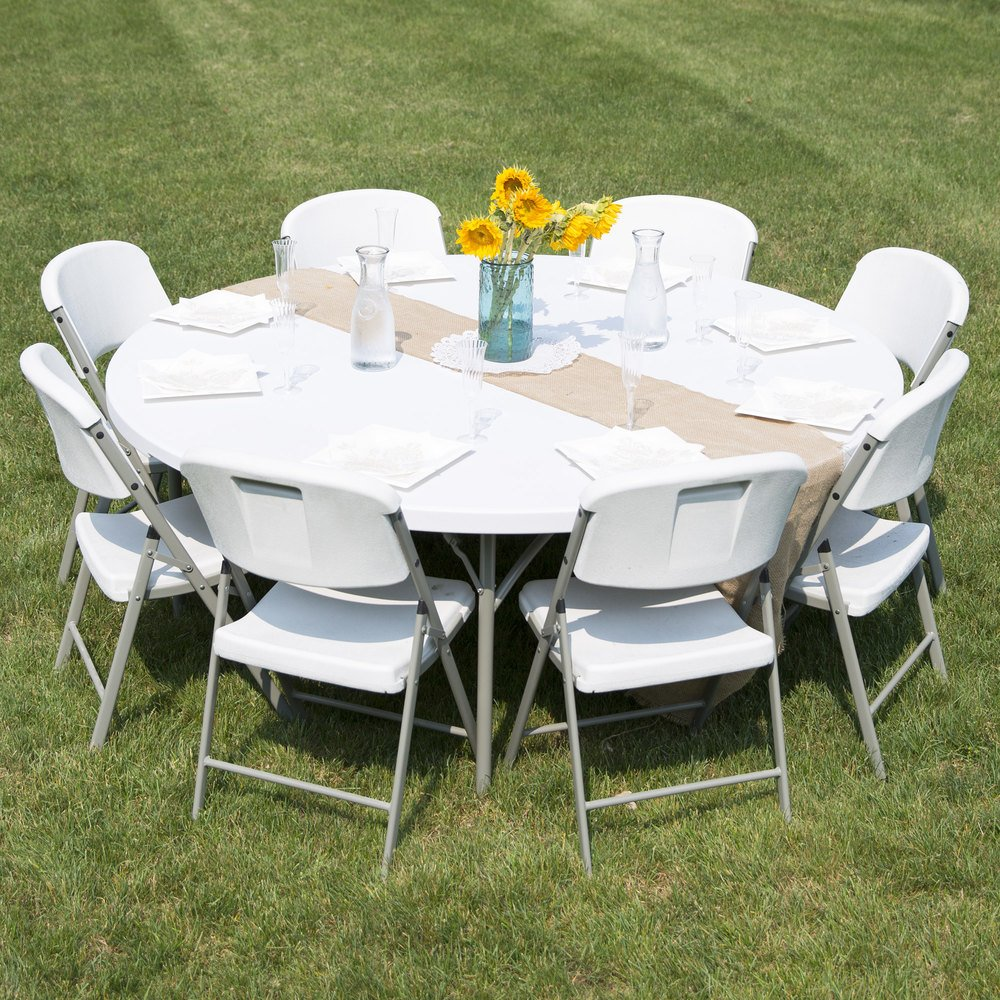 Round folding table 72 heavy duty plastic white granite for Table retractable