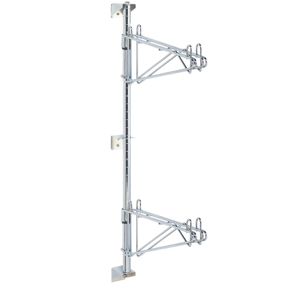 "Metro AW23C Super Erecta Chrome Double Level Post-Type Wall Mount Mid Unit for 14"" Deep Shelf"