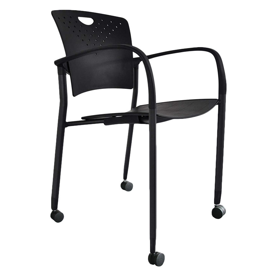 Black plastic chair -  Black Plastic Chair With Casters Main Picture