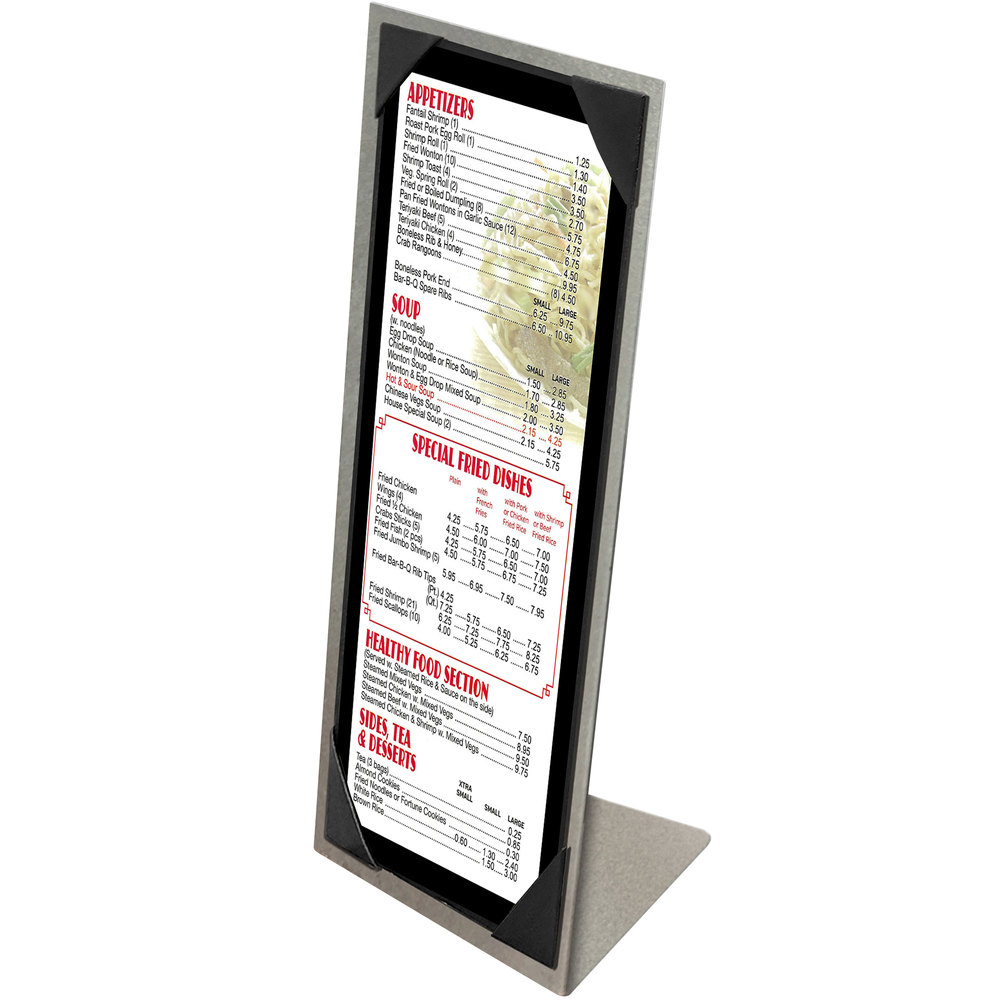 "Menu Solutions MTPIX-414 Aluminum Menu Tent with Picture Corners - Brushed Finish - 4 1/4"" x 14"""