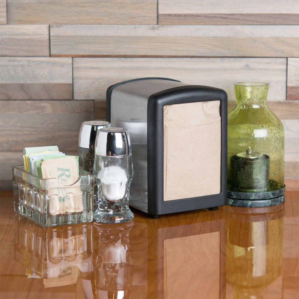Tablecraft 3219BK Black Half Size Napkin Dispenser with Stainless Steel Exterior