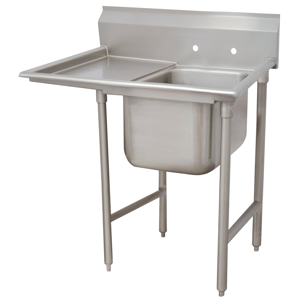 Left Drainboard Advance Tabco 93-61-18-24 Regaline One Compartment Stainless Steel Sink with One Drainboard - 48""