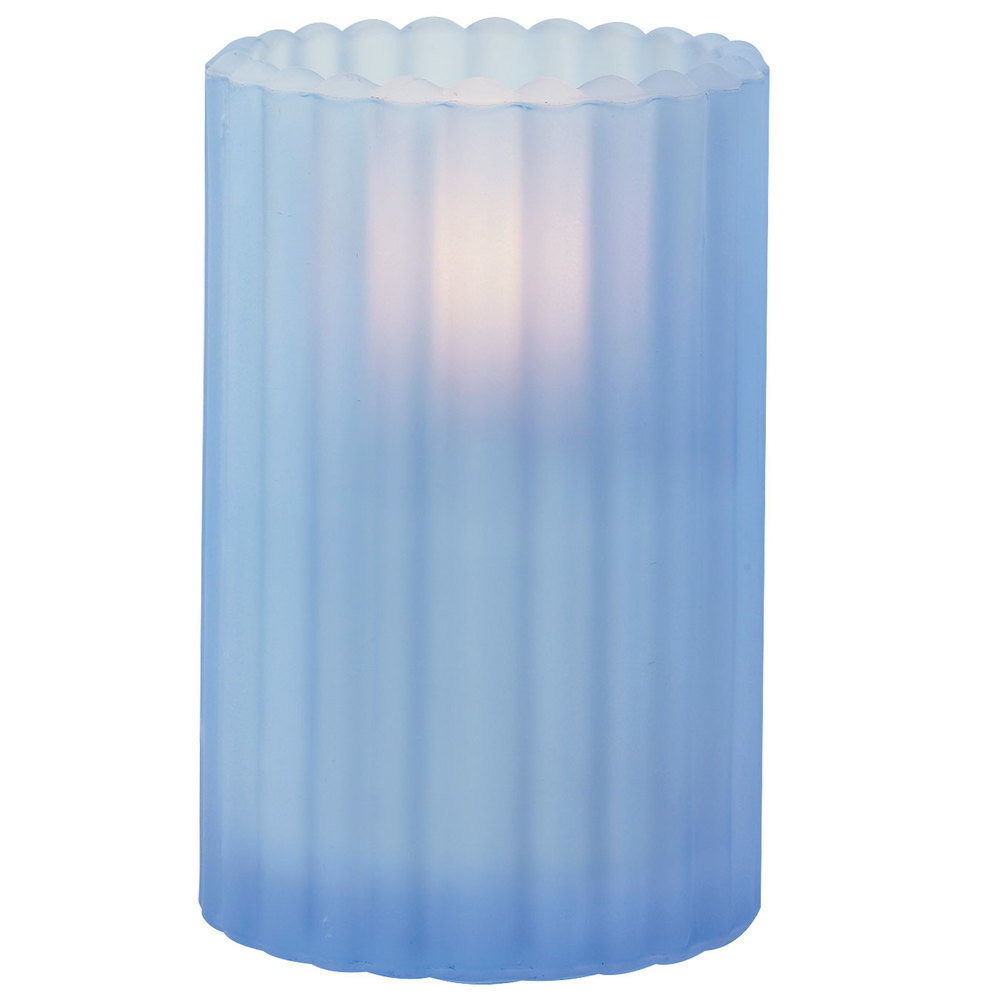 "Sterno Products 80212 3 1/8"" x 5"" Blue Frost Paragon Candle Liquid Candle Holder"