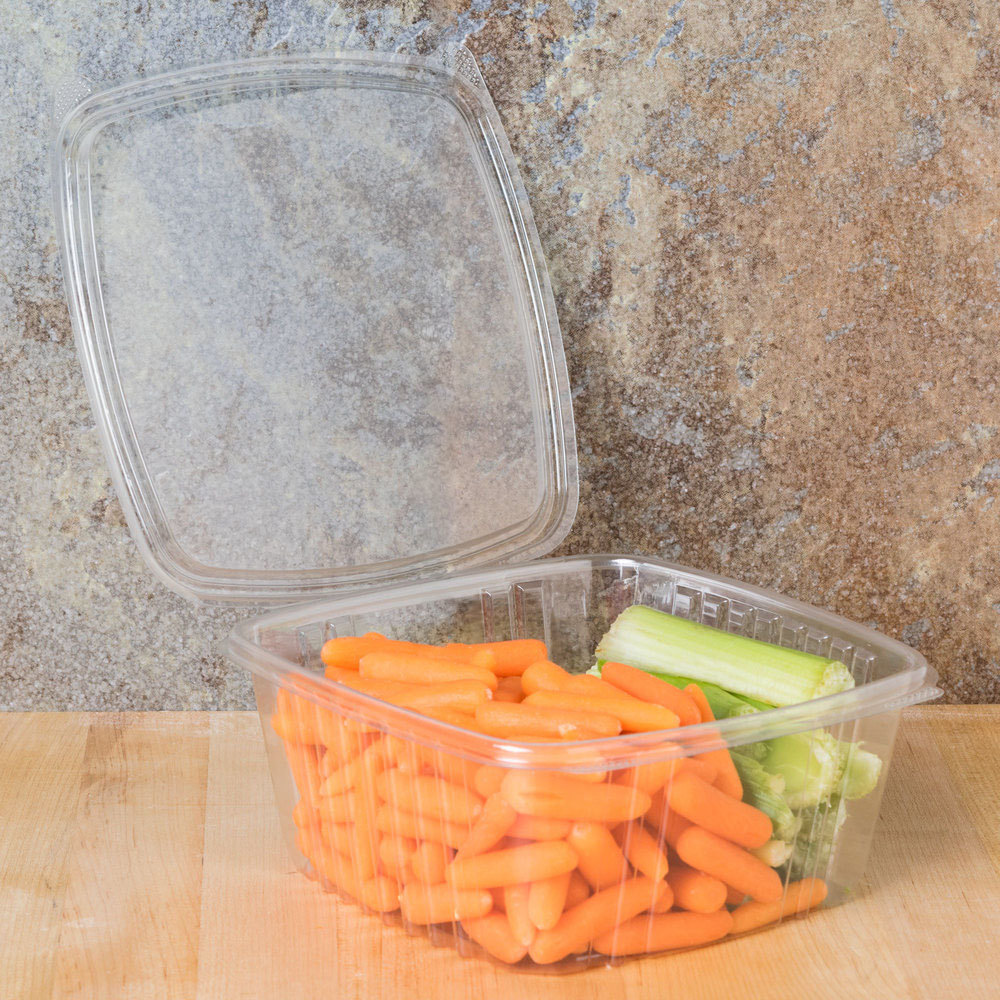 Genpak AD64 2 Qt. Clear Hinged Deli Container - 200/Case