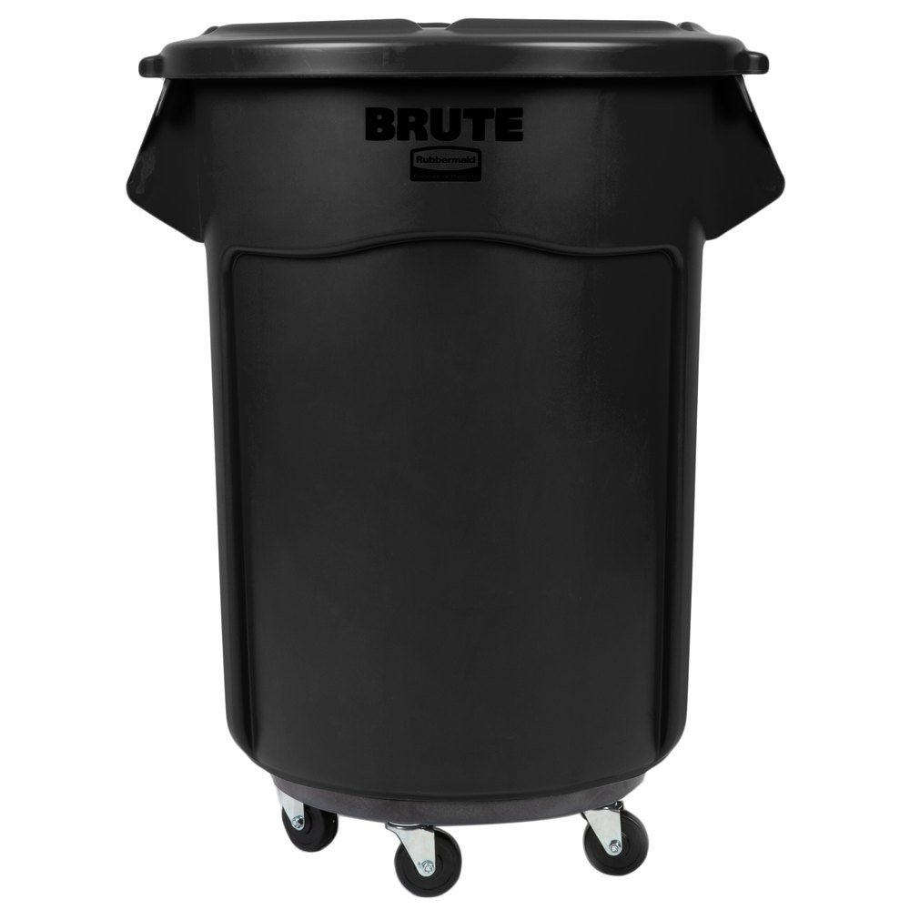 rubbermaid brute 55 gallon black executive trash can with lid and dolly. Black Bedroom Furniture Sets. Home Design Ideas