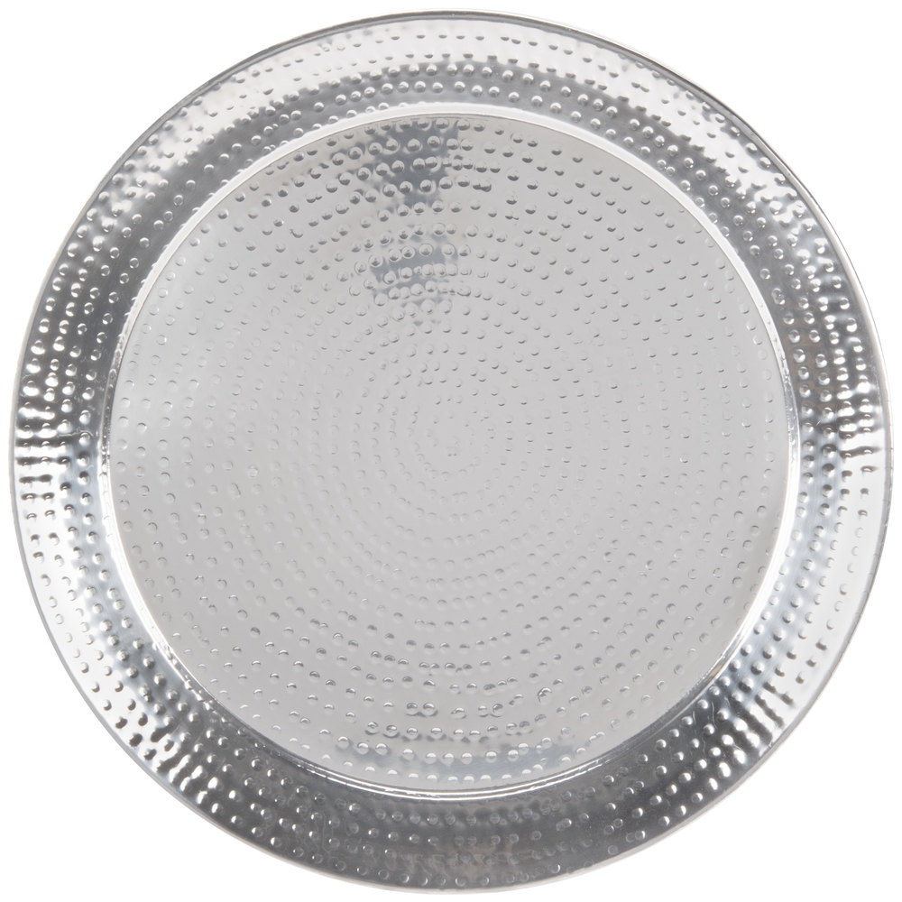"American Metalcraft HMRST2001 20"" Round Hammered Stainless Steel Serving Tray"