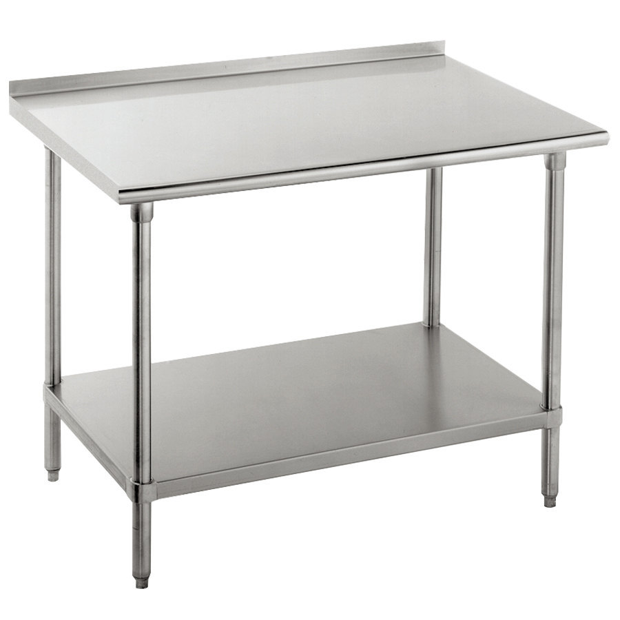 "Advance Tabco FMG-242 24"" x 24"" 16 Gauge Stainless Steel Commercial Work Table with Undershelf and 1 1/2"" Backsplash"