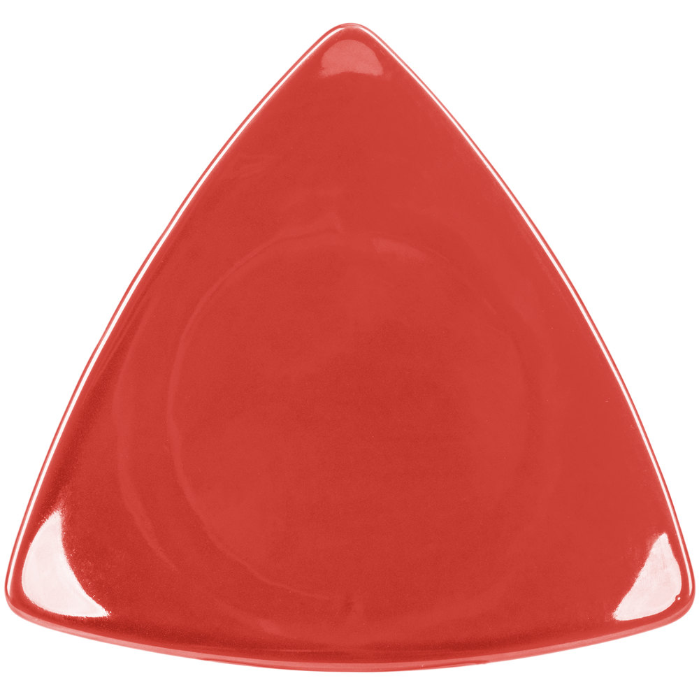 "CAC TRG-16RED Festiware Triangle Flat Dinner Plate 10 1/2"" - Red - 12/Case"