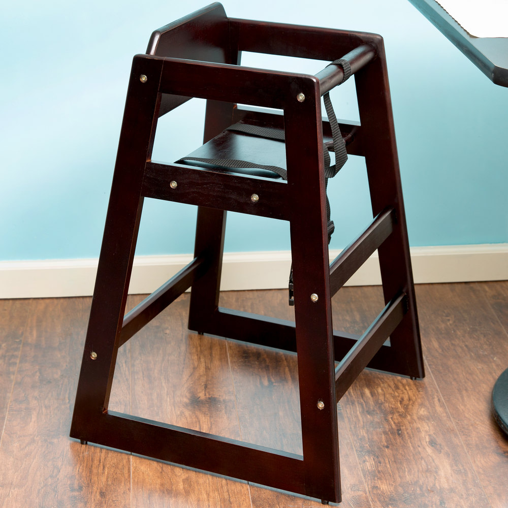Stacking Wood High Chair with Walnut Finish - Unassembled