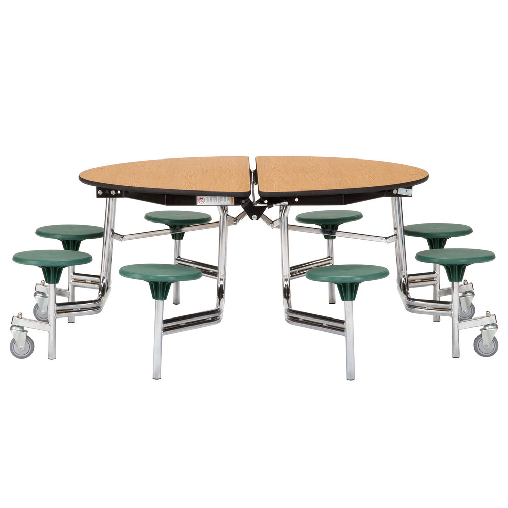 Public Seating MTR60SPBTMPCGY40 60 Round Grey Mobile Cafeteria