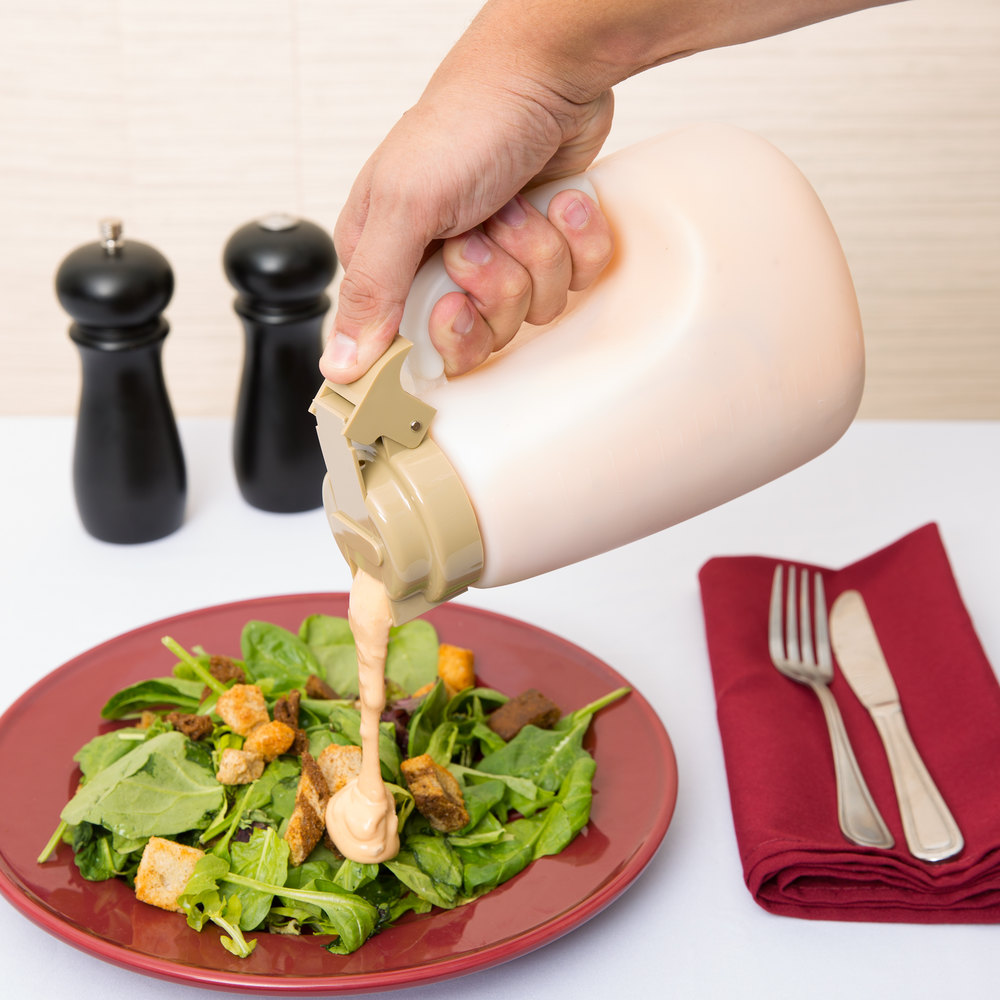 Tablecraft MW48BE 48 oz. Translucent Salad Dressing Dispenser with Beige ABS Top - 6/Pack