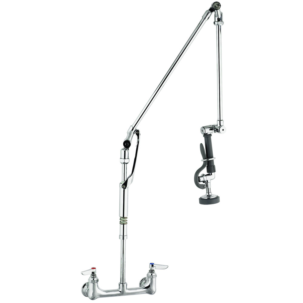 "T&S B-0134 Wall Mounted 40"" High Pre-Rinse Faucet with Adjustable 8"" Centers and Roto-Flex Support"