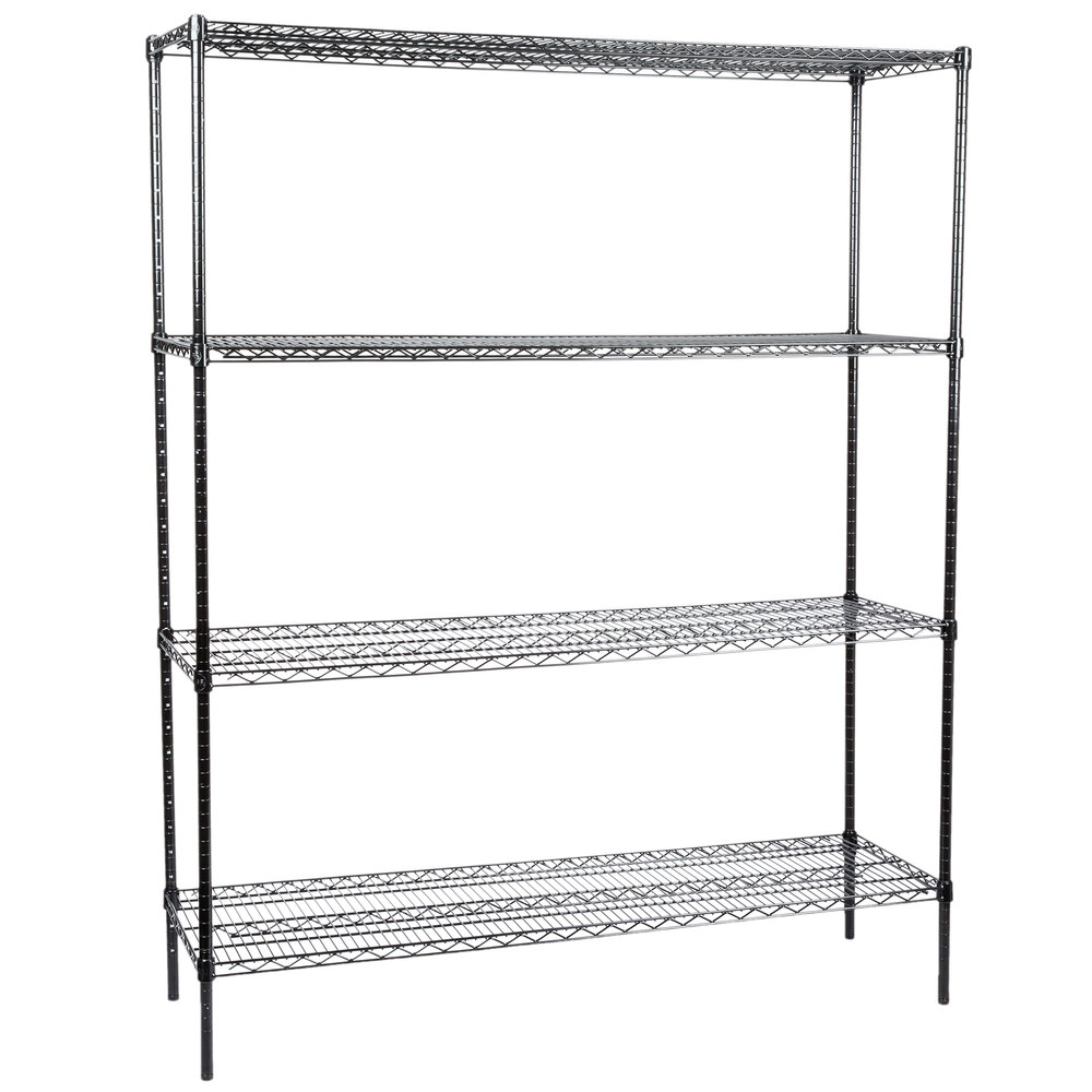 Regency 18 inch x 60 inch NSF Black Epoxy 4-Shelf Kit with 74 inch Posts