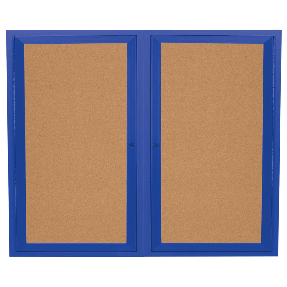 "Aarco DCC4860RB 48"" x 60"" Enclosed Hinged Locking 2 Door Powder Coated Blue Finish Indoor Bulletin Board Cabinet"