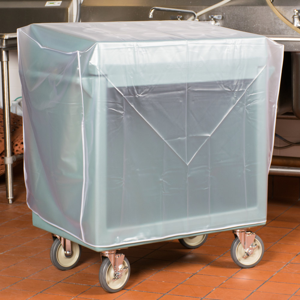 Cambro TDCR12401 Slate Blue Tray and Dish Cart with Cutlery Rack and Protective Vinyl Cover