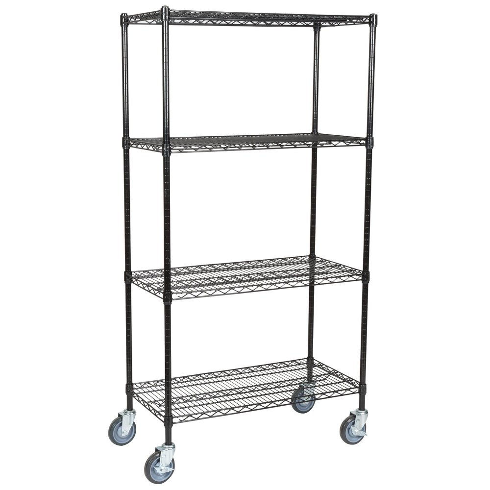 Regency 18 inch x 36 inch NSF Black Epoxy 4-Shelf Kit with 64 inch Posts and Casters