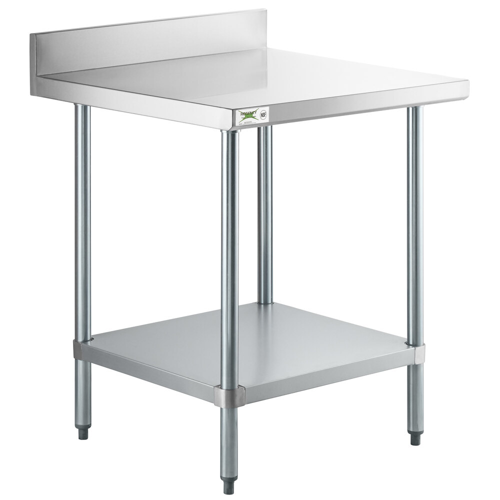 Regency 30 inch x 30 inch 18-Gauge 304 Stainless Steel Commercial Work Table with 4 inch Backsplash and Galvanized Undershelf