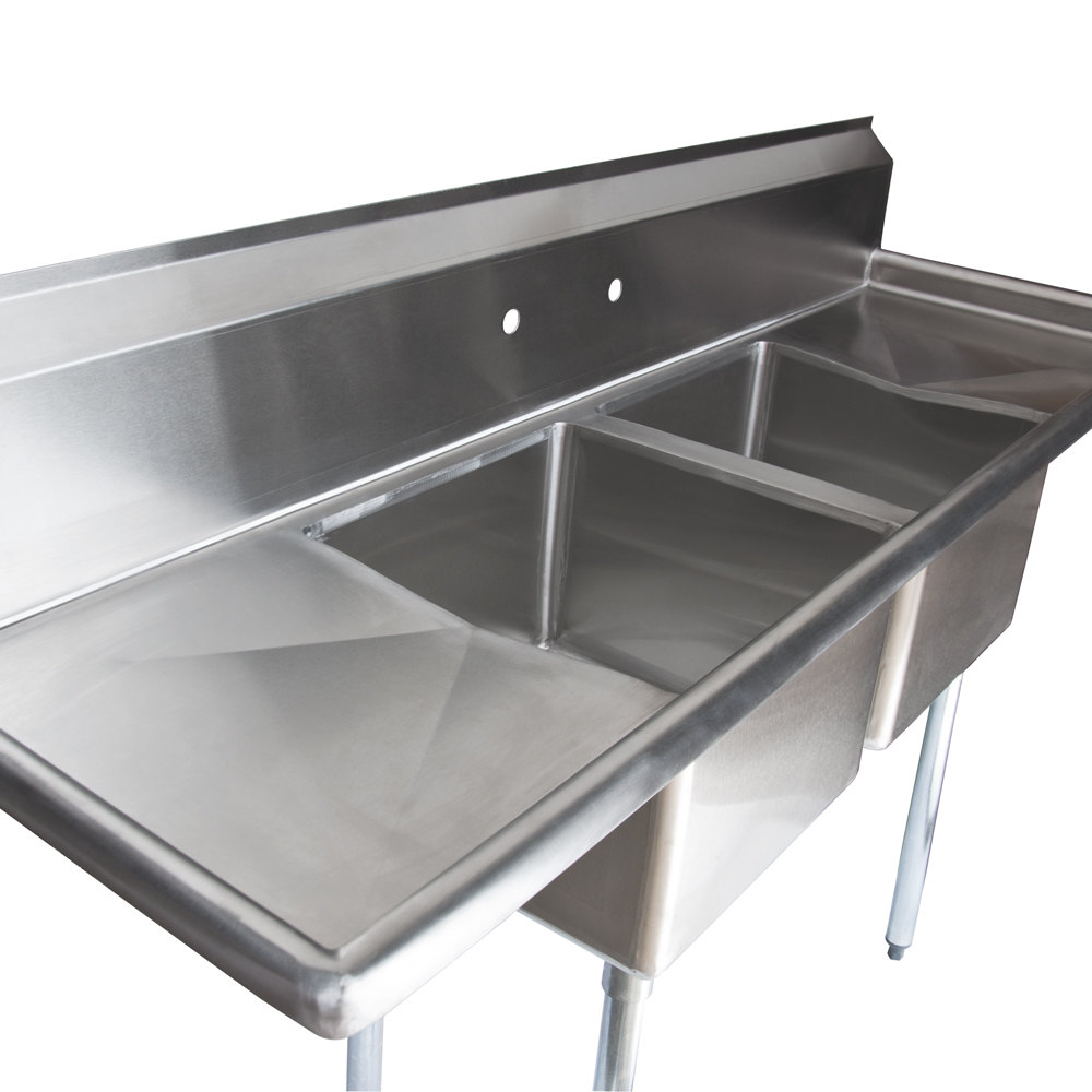 Two Compartment Stainless Steel Commercial Sink with 2 Drainboards ...