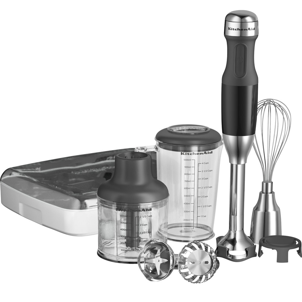 "KitchenAid KHB2561OB Onyx Black 5 Speed Hand Blender with 8"" Shaft and Interchangeable Blade Assemblies"