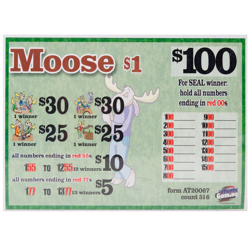 """Moose"" 1 Window Seal Pull Tab Tickets - 516 Tickets Per Deal - Total Payout $395"