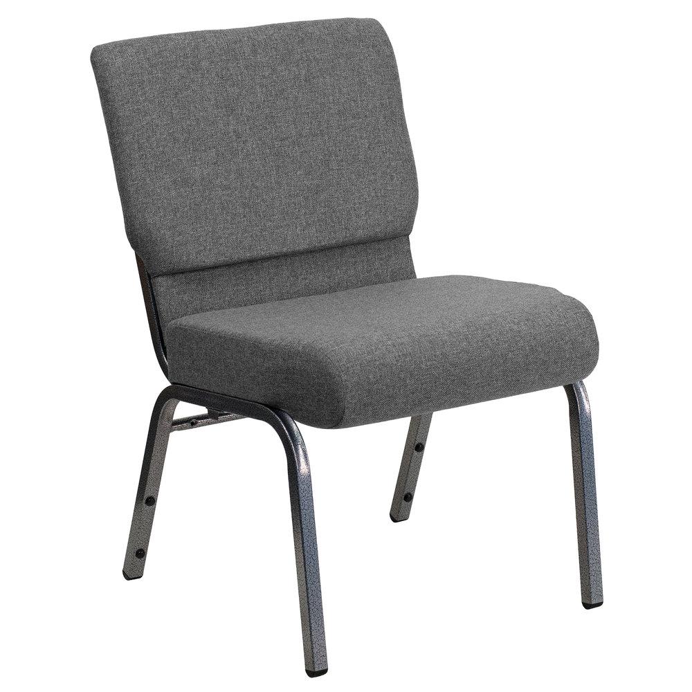 Silver chair furniture - Flash Furniture Xu Ch0221 Gy Sv Gg Hercules Series Gray 21 Church Chair With Silver Vein Frame
