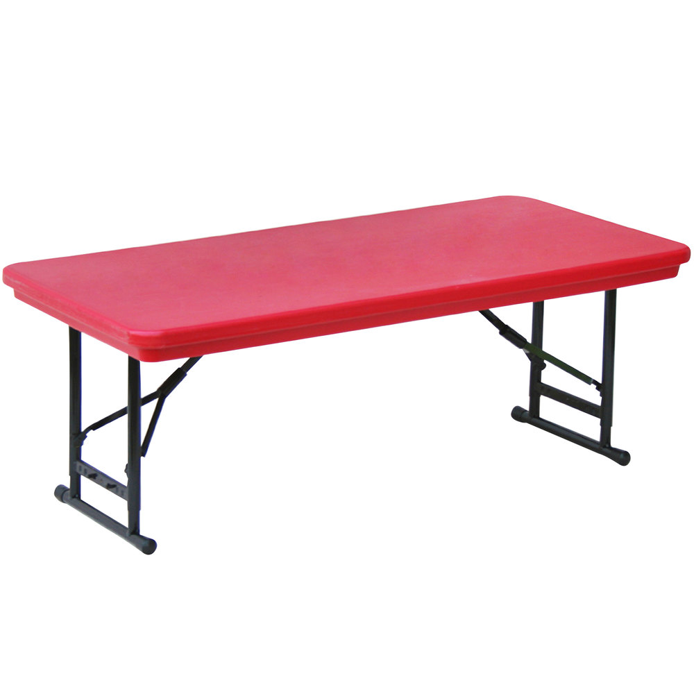 """Correll Adjustable Height Folding Table 30"""" x 60"""" Plastic Red"""