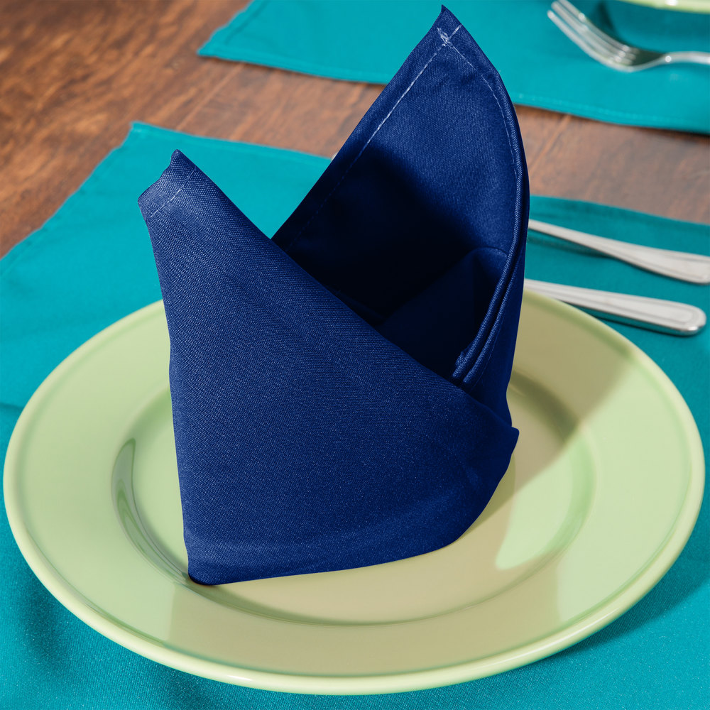"18"" x 18"" Royal Blue Hemmed Polyspun Cloth Napkin - 12/Pack"