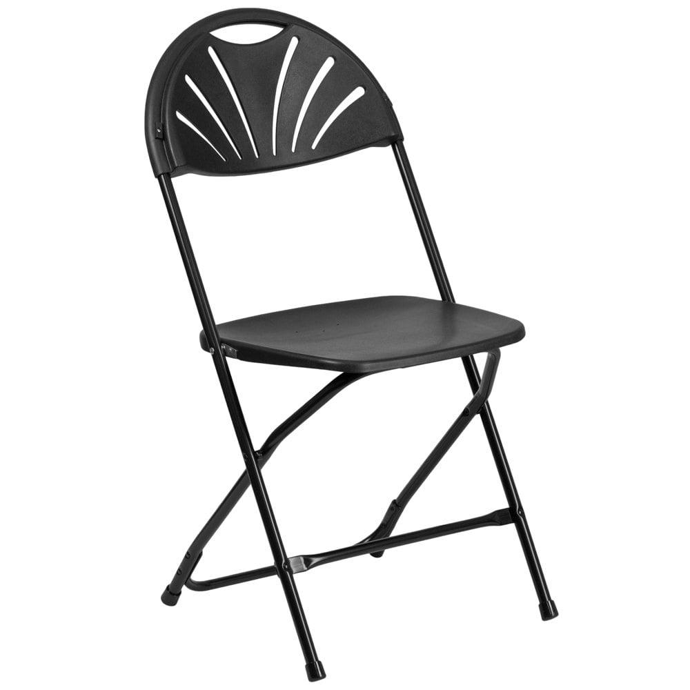 Black plastic folding chairs - Flash Furniture Le L 4 Bk Gg Hercules Black Plastic Fan Back Folding Chair
