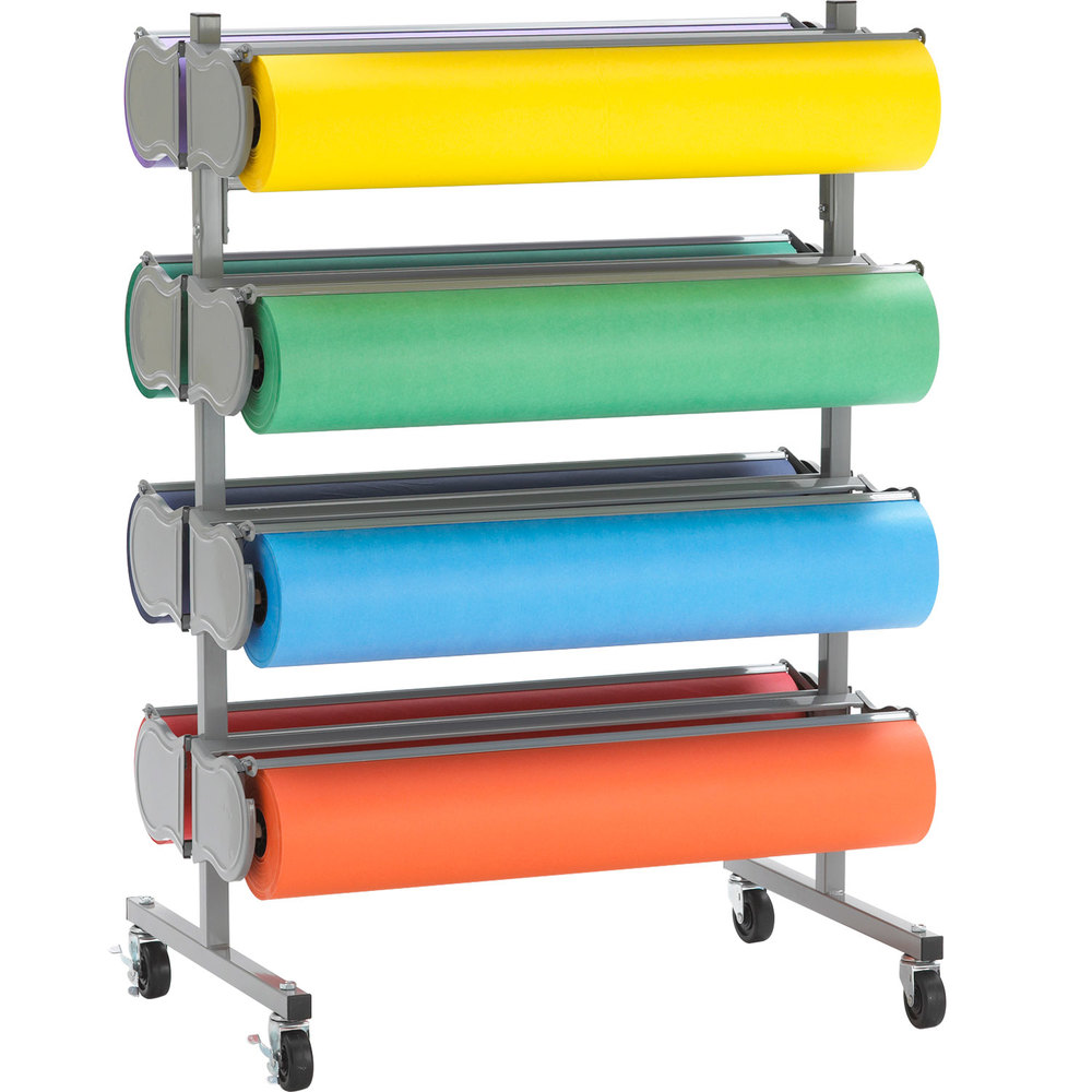 "Bulman R398-D-48 48"" Horizontal Tower 8 Roll Deluxe Paper Rack - Assembled"
