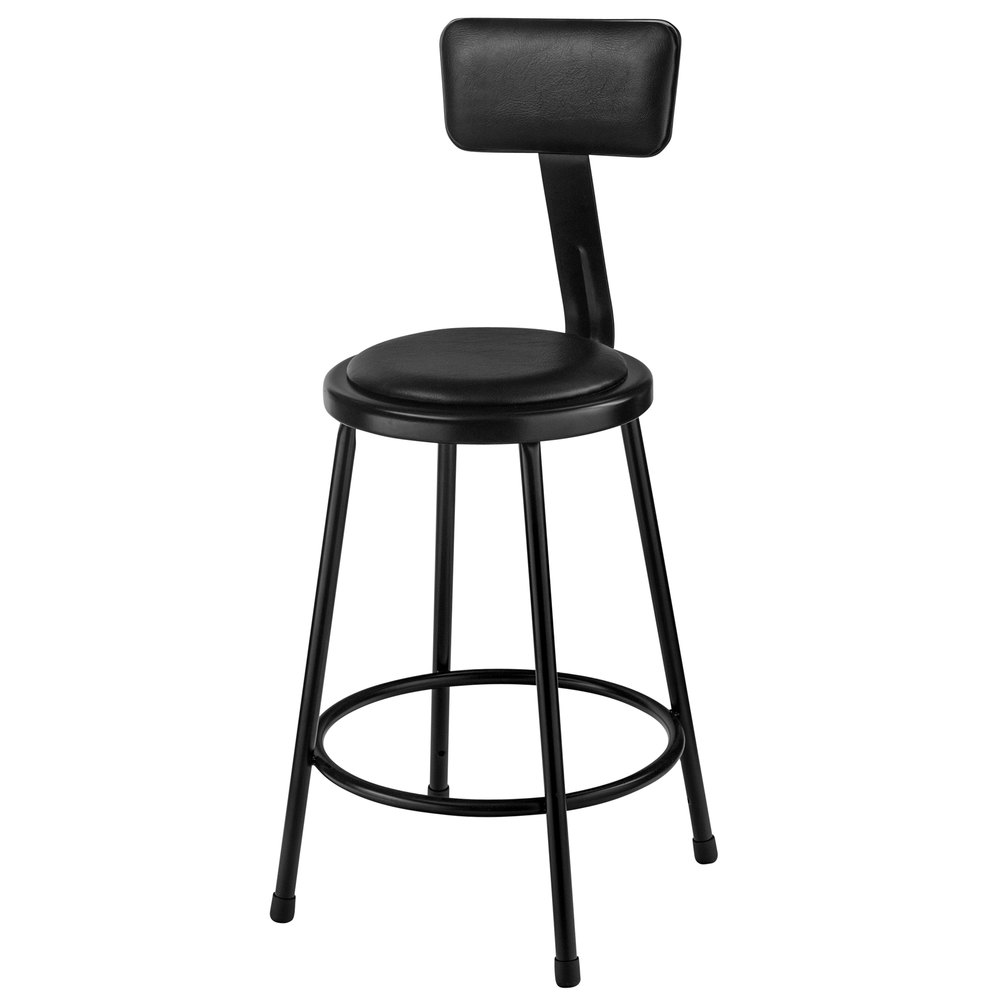 National Public Seating 6424b 10 24 Quot Black Round Padded