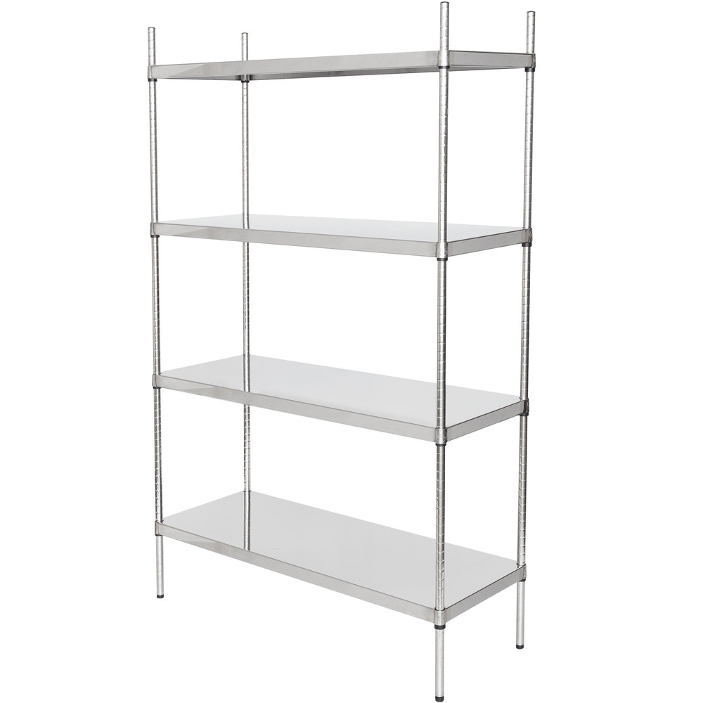 Regency 18 inch x 48 inch NSF Stainless Steel Solid 4-Shelf Kit with 74 inch Posts