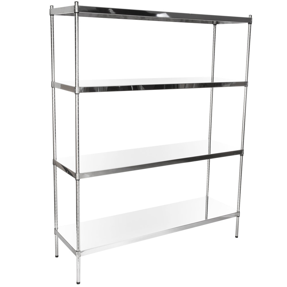 Regency 18 inch x 60 inch NSF Stainless Steel Solid 4-Shelf Kit with 74 inch Posts