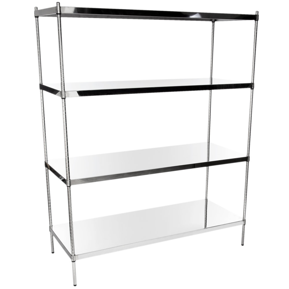 Regency 24 inch x 60 inch NSF Stainless Steel Solid 4-Shelf Kit with 74 inch Posts