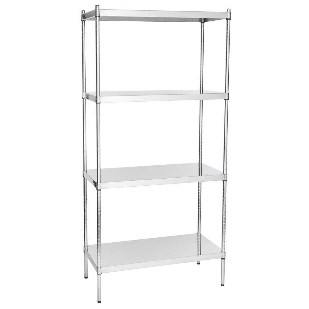Regency 18 inch x 36 inch NSF Stainless Steel Solid 4-Shelf Kit with 74 inch Posts