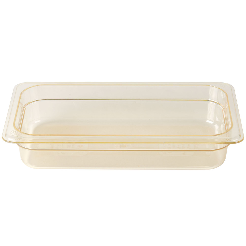 "Cambro 32HP150 H-Pan 1/3 Size Amber High Heat Food Pan - 2 1/2"" Deep"