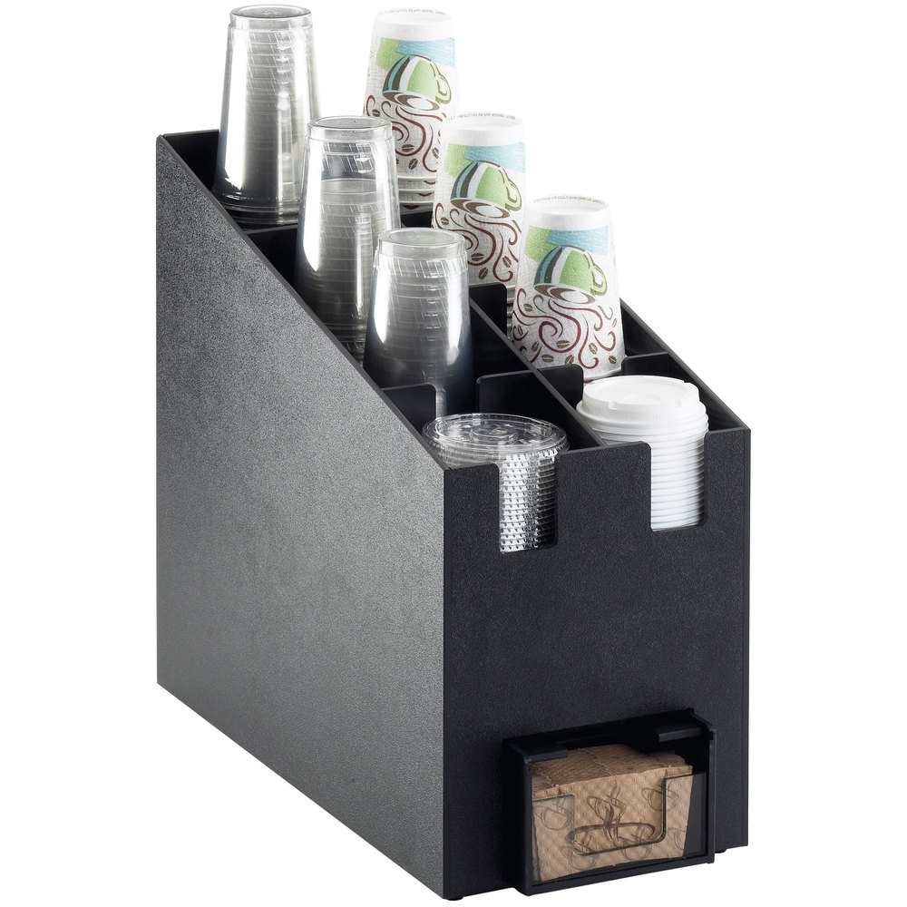 "Cal-Mil 2045 Classic Cup / Lid Organizer with Hot Cup Sleeve Dispenser Slot - 9 1/4"" x 19 1/4"" x 16 3/4"""