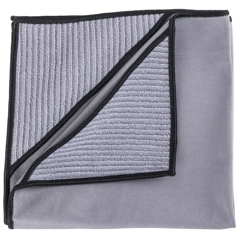 "Unger MN40U Ninja MicroWipe 16"" x 16"" Gray and Black Premium Microfiber Cleaning Cloth"