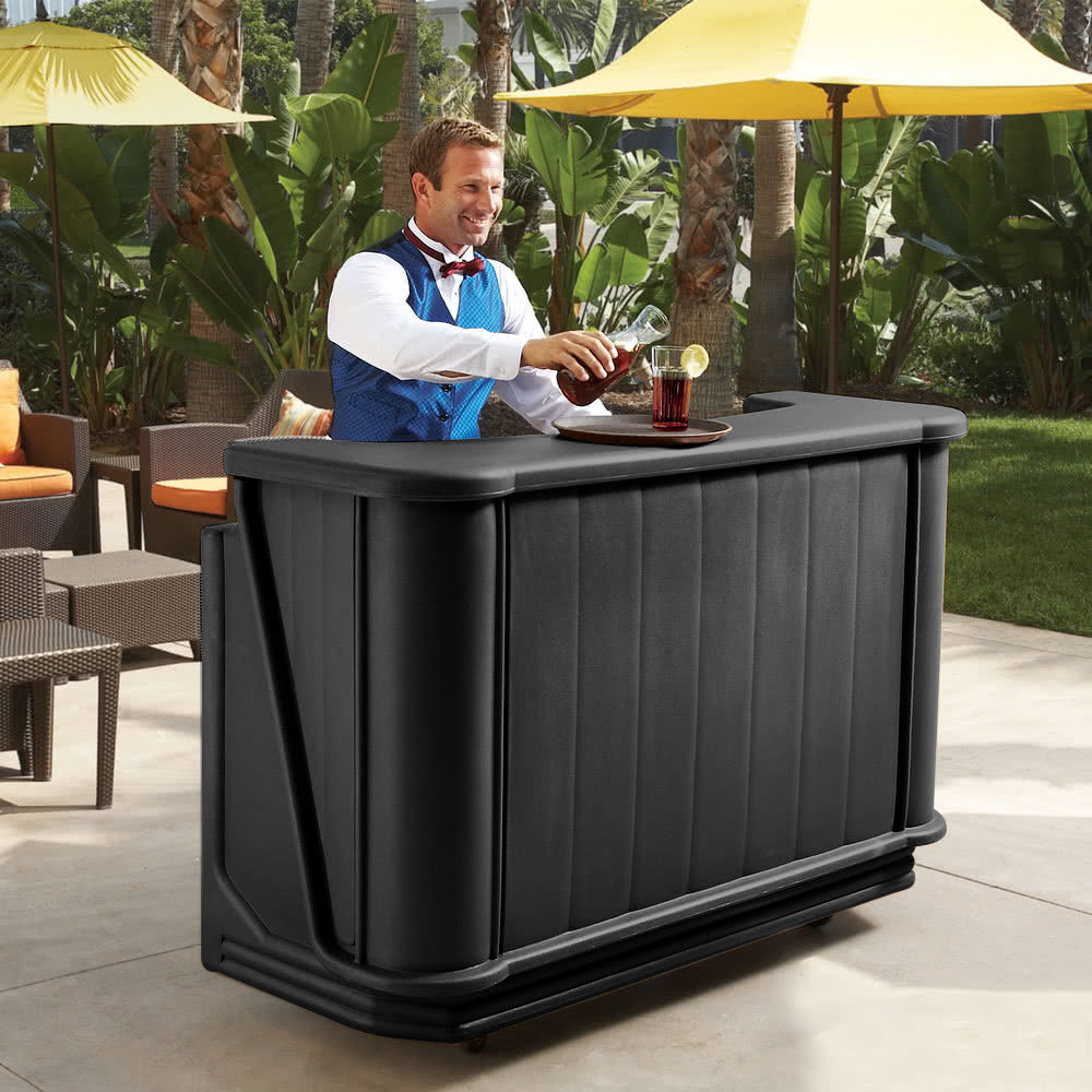 "Cambro BAR650110 Black Cambar 67"" Portable Bar with 7-Bottle Speed Rail"