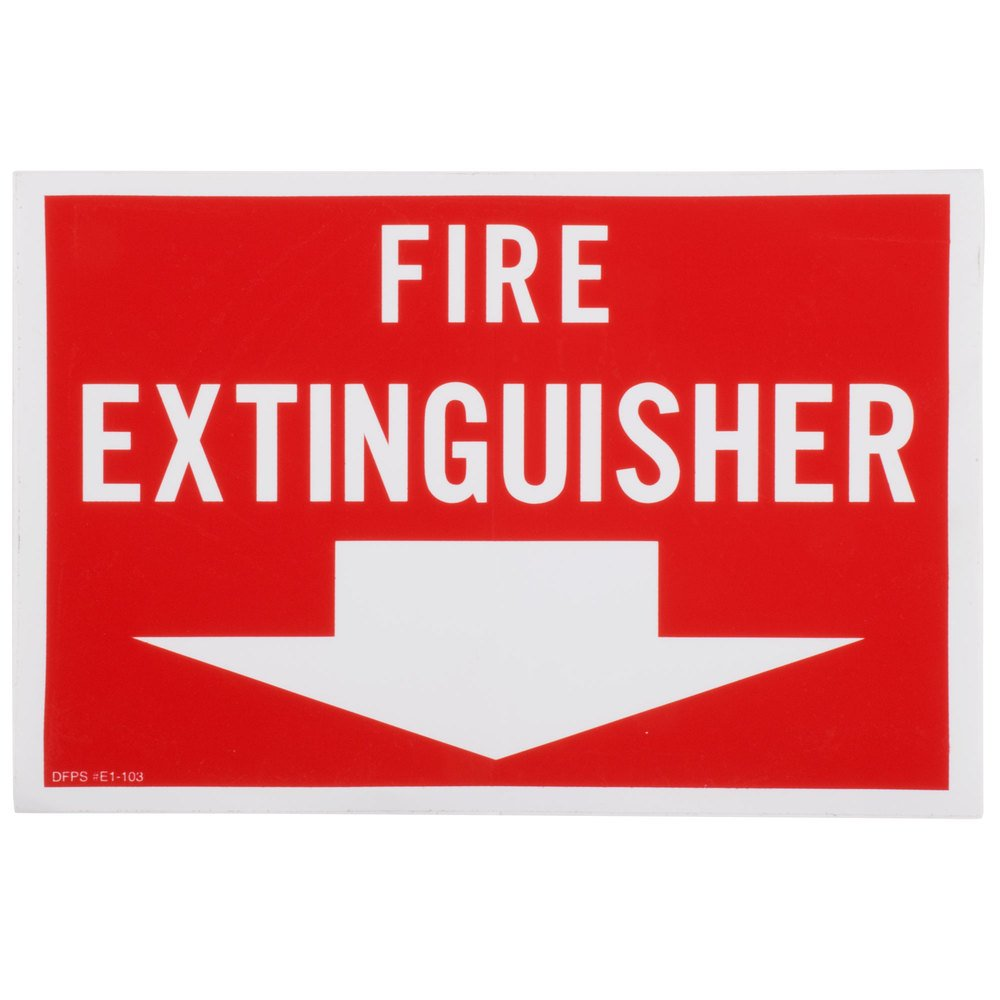 "Buckeye 12"" x 8"" Red and White Fire Extinguisher Adhesive Label"
