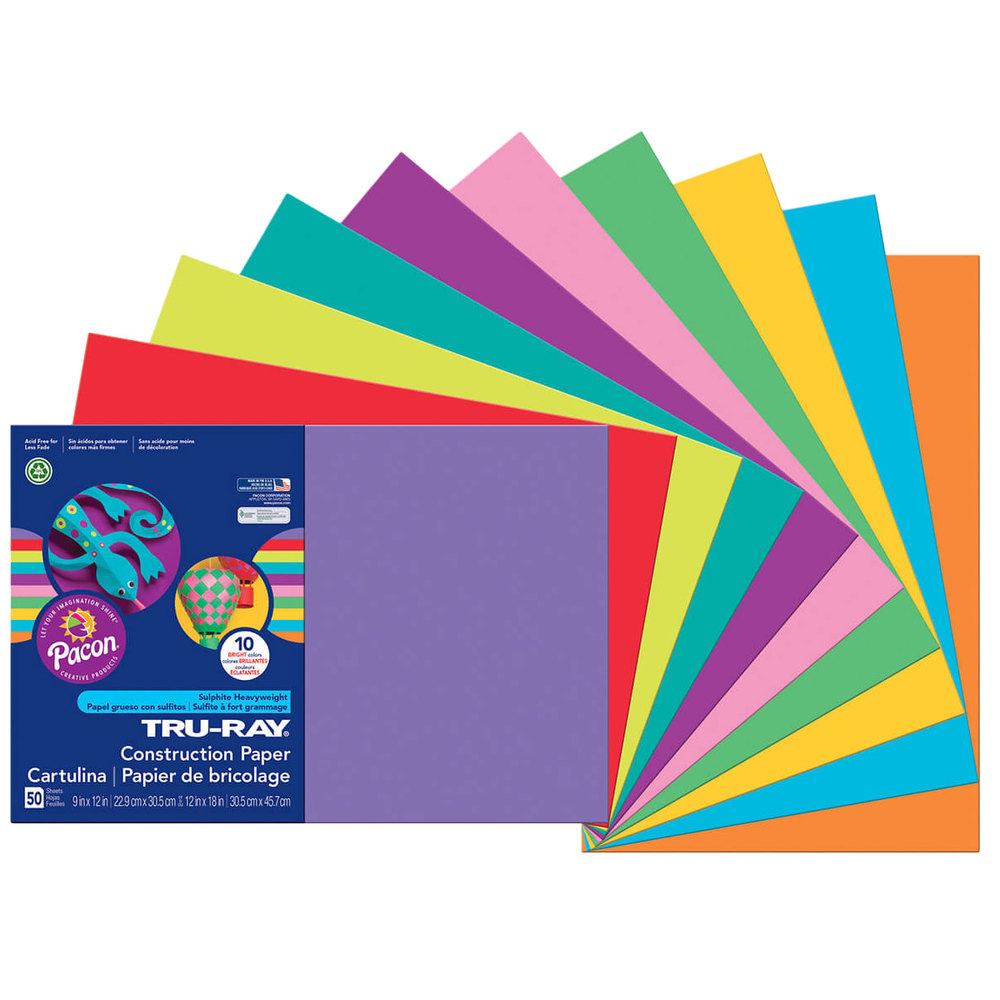 Pacon 102941 Tru Ray 12 Quot X 18 Quot Assorted Bright Color Pack