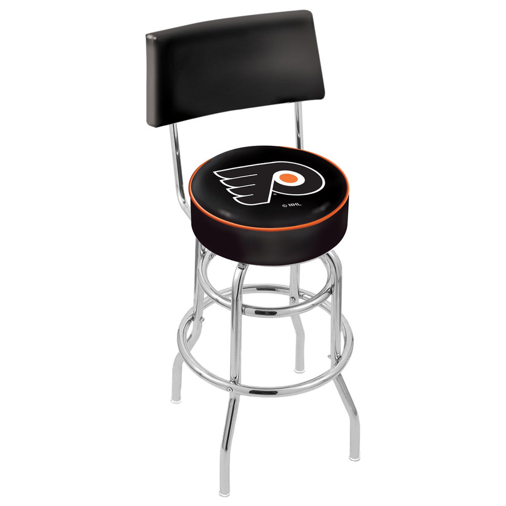 Holland Bar Stool L7C430PhiFly-B Philadelphia Flyers Double Ring Swivel Stool with Padded Back and Seat