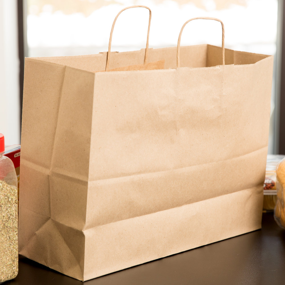 "Duro Tote Natural Kraft Paper Shopping Bag with Handles 16"" x 6"" x 12"" - 250/Bundle"