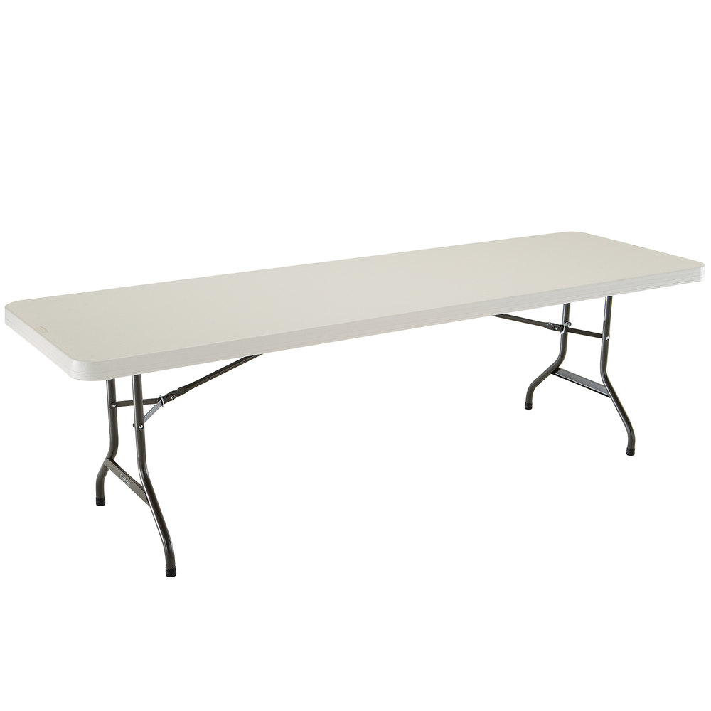 "Lifetime 2984 30"" x 96"" Almond Plastic Folding Table"