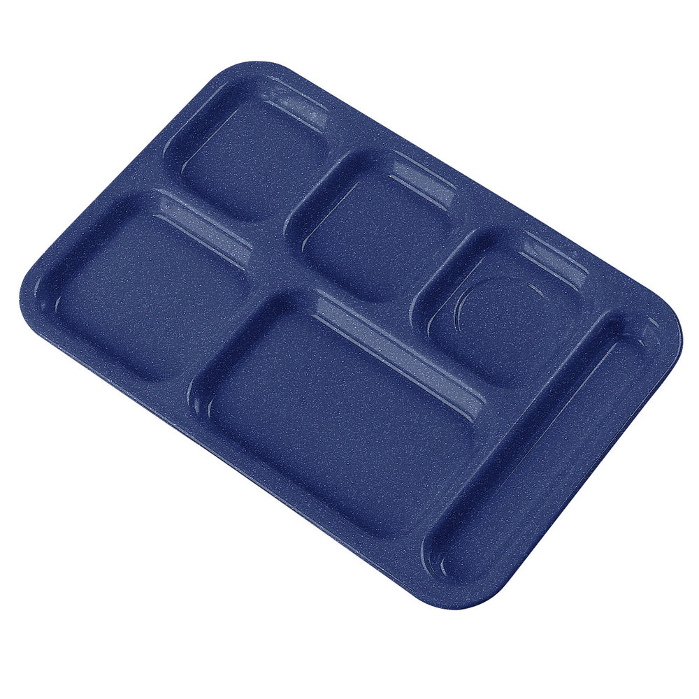 "Carlisle 4398835 Cafe Blue 10"" x 14"" Heavy Weight Melamine Right Hand 6 Compartment Tray"