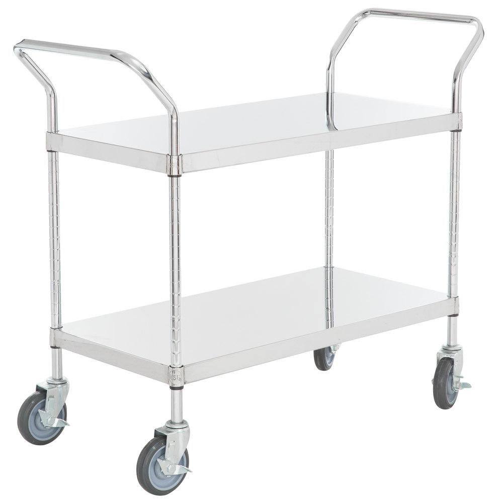 Regency Stainless Steel Two Shelf Utility Cart - 36 inch x 18 inch x 36 inch