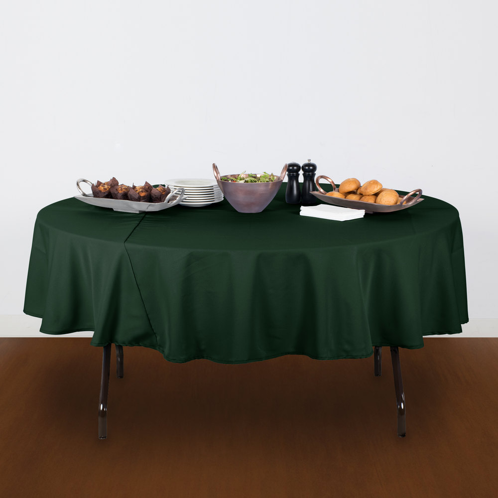 "90"" Round Forest Green 100% Polyester Hemmed Cloth Table Cover"